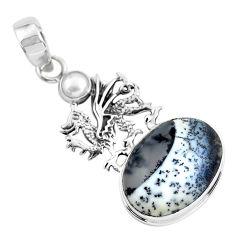 15.97cts natural white dendrite opal (merlinite) silver dragon pendant p55275
