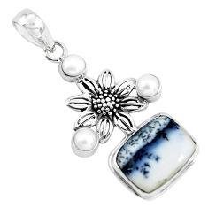 13.41cts natural white dendrite opal (merlinite) silver flower pendant p55267