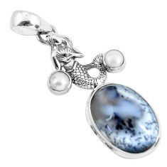 15.69cts natural white dendrite opal 925 silver fairy mermaid pendant p55276
