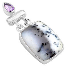 18.70cts natural white dendrite opal amethyst 925 silver pendant jewelry p85434