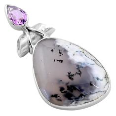 19.72cts natural white dendrite opal amethyst pear 925 silver pendant p85439
