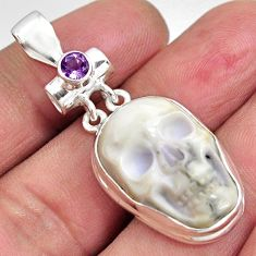 22.87cts natural white howlite amethyst 925 sterling silver skull pendant p90360