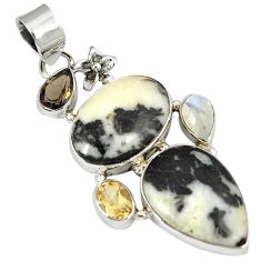 Natural white howlite multi gemstone 925 sterling silver flower pendant j11300