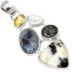 Natural white howlite multi gemstone 925 sterling silver pendant jewelry j11304
