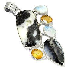 Natural white howlite multi gemstone 925 sterling silver pendant jewelry j11315