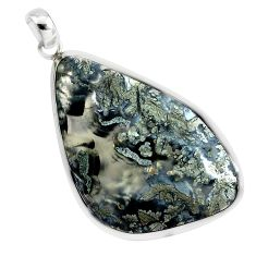 31.58cts natural white marcasite in quartz 925 sterling silver pendant p44021