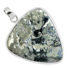 27.46cts natural white marcasite in quartz 925 sterling silver pendant p44028