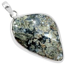 26.16cts natural white marcasite in quartz 925 sterling silver pendant p44030