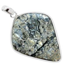 30.39cts natural white marcasite in quartz 925 sterling silver pendant p44037