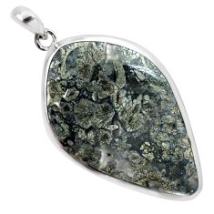 34.48cts natural white marcasite in quartz 925 sterling silver pendant p44038