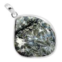 30.39cts natural white marcasite in quartz 925 sterling silver pendant p44042