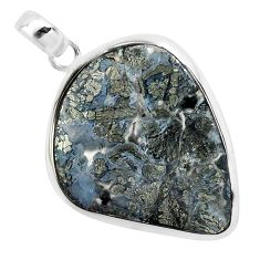 21.66cts natural white marcasite in quartz 925 sterling silver pendant p44043