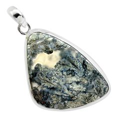 26.85cts natural white marcasite in quartz 925 sterling silver pendant p44049