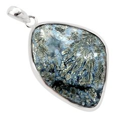 29.75cts natural white marcasite in quartz 925 sterling silver pendant p44057
