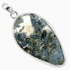 28.62cts natural white marcasite in quartz 925 sterling silver pendant p44058