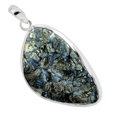28.10cts natural white marcasite in quartz 925 sterling silver pendant p44060
