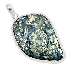 27.46cts natural white marcasite in quartz 925 sterling silver pendant p53862