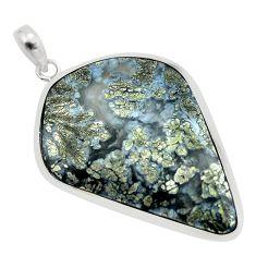 35.55cts natural white marcasite in quartz 925 sterling silver pendant p53871