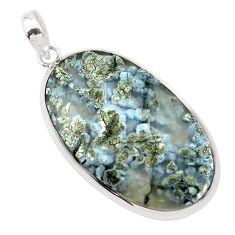28.54cts natural white marcasite in quartz 925 sterling silver pendant p53875