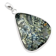 27.49cts natural white marcasite in quartz 925 sterling silver pendant p53878