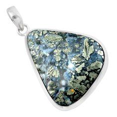 23.95cts natural white marcasite in quartz 925 sterling silver pendant p53880