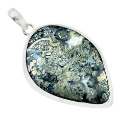 26.85cts natural white marcasite in quartz 925 sterling silver pendant p53895