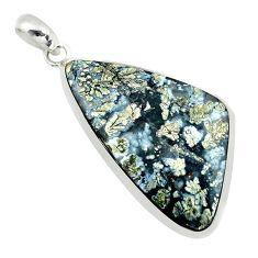 25.20cts natural white marcasite in quartz 925 sterling silver pendant p53897