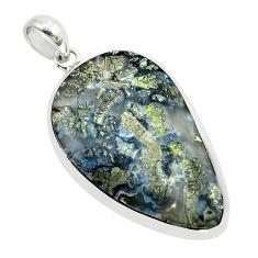 24.59cts natural white marcasite in quartz 925 sterling silver pendant p53900