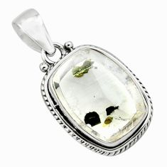 20.20cts natural white marcasite in quartz 925 sterling silver pendant p75882