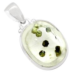 18.88cts natural white marcasite in quartz 925 sterling silver pendant p75883