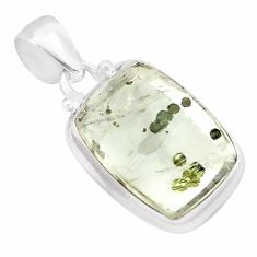 17.42cts natural white marcasite in quartz 925 sterling silver pendant p75890