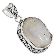 17.42cts natural white milky quartz 925 silver buddha charm pendant p90427