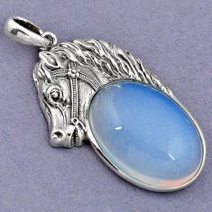 NATURAL WHITE OPALITE 925 STERLING SILVER HORSE FACE PENDANT JEWELRY H1809
