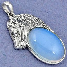 NATURAL WHITE OPALITE 925 STERLING SILVER HORSE FACE PENDANT JEWELRY H30363