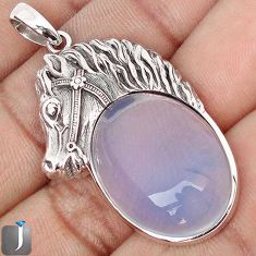 21.73cts NATURAL WHITE OPALITE 925 STERLING SILVER HORSE PENDANT JEWELRY G69182