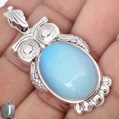 21.89cts NATURAL WHITE OPALITE 925 STERLING SILVER OWL PENDANT JEWELRY G69184