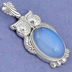 NATURAL WHITE OPALITE OVAL 925 STERLING SILVER OWL CHARM PENDANT JEWELRY H6045