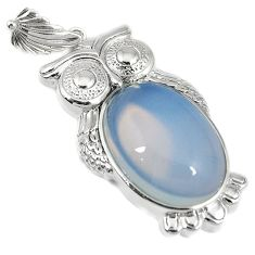 Natural white opalite oval 925 sterling silver owl pendant jewelry h49833