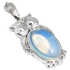 Natural white opalite oval 925 sterling silver owl pendant jewelry h53830
