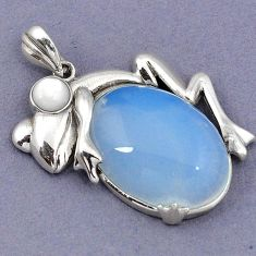 NATURAL WHITE OPALITE PEARL 925 STERLING SILVER FROG PENDANT JEWELRY H1804