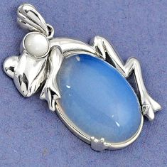 NATURAL WHITE OPALITE PEARL 925 STERLING SILVER FROG PENDANT JEWELRY H30371
