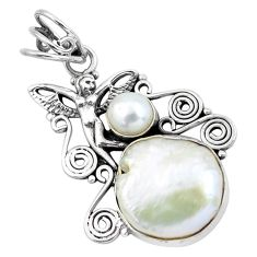 15.16cts natural white pearl 925 silver angel wings fairy pendant jewelry p58771