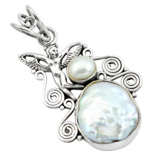 14.26cts natural white pearl 925 silver angel wings fairy pendant p58769