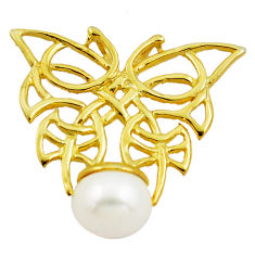 7.08cts natural white pearl 925 sterling silver 14k gold butterfly pendant c4729