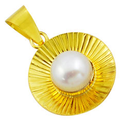 4.63cts natural white pearl 925 sterling silver 14k gold pendant jewelry c4719