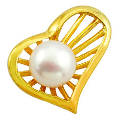 6.84cts natural white pearl 925 sterling silver 14k gold pendant jewelry c4722