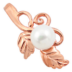 5.52cts natural white pearl 925 sterling silver 14k rose gold pendant c4742