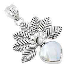 6.31cts natural white pearl 925 sterling silver feather pendant jewelry d31143
