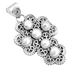 6.02cts natural white pearl 925 sterling silver holy cross pendant p35953