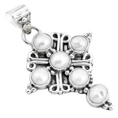 5.36cts natural white pearl 925 sterling silver holy cross pendant p36014